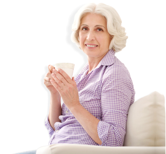 old woman holding a cup of coffee